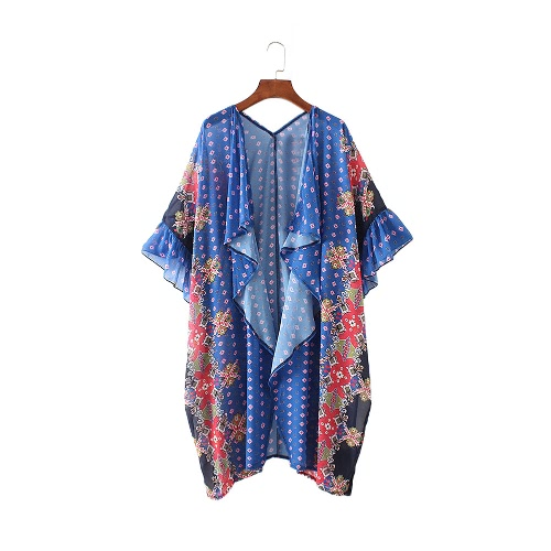 New Women Chiffon Kimono Cardigan Floral Geometric Print Boho Loose Outerwear Beachwear Bikini Cover Up BlueSwimwear<br>New Women Chiffon Kimono Cardigan Floral Geometric Print Boho Loose Outerwear Beachwear Bikini Cover Up Blue<br><br>Blade Length: 25.0cm