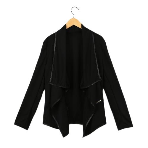 Buy Fashion Women Coat Solid Irregular Turn Collar Long Sleeve Zipper Decoration Cardigan Jacket Loose Outerwear Black
