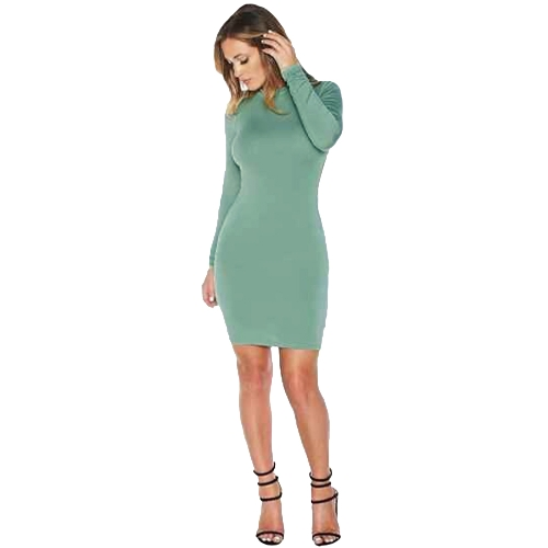 Sexy Cross Strap Backless Hollow Out Long Sleeve Bodycon Dress for Women G1756GR-M