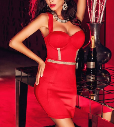 Buy Fashion Women Mini Dress Low-cut Vertical Strappy Backless Solid Sexy Nightclub Bodycon Red