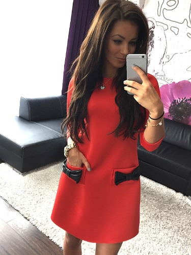 New Fashion Women Dress Bow Small Pocket Round Neck Three Quarter Sleeve Mini Dress