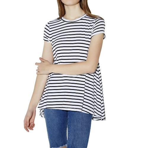 Buy Fashion Striped Short Sleeve Cotton Basic T-Shirt Women