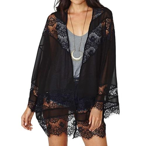 New Fashion Women Chiffon Cardigan Kimono Floral Lace Open Front Long Sleeve Thin Coat Black