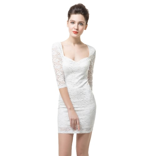 Sexy Floral Sweetheart Neck Half Sleeve Womens Slim White Mini Lace DressDresses<br>Sexy Floral Sweetheart Neck Half Sleeve Womens Slim White Mini Lace Dress<br><br>Blade Length: 23.0cm