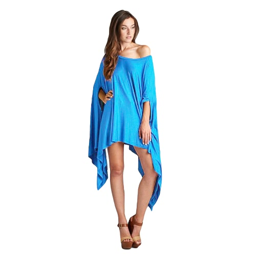 New Fashion Women Batwing Mini Dress Loose Plus Size Asymmetric Long Top Cape Tunic Poncho