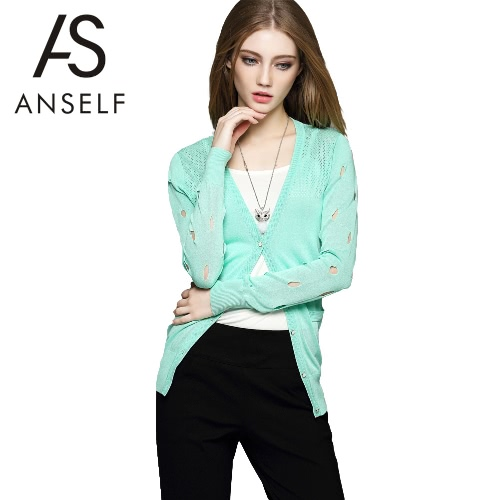 New Women High Quality Knitted Outerwear Hollow out V-Neck Long Sleeves Slim Elegant Causal Cardigan Coat White/Black/Light Green G2055LGR-M