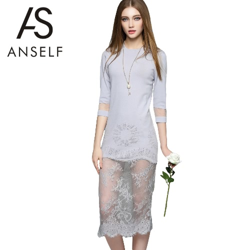 New Women High Quality Midi Knitted Dress Lace Mesh Splice O-Neck 3/4 Sleeves Slim Elegant Party Dress White/Black/Light Grey