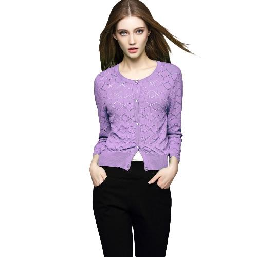 New Fashion Women Knit Sweater Geometric Ribbed Trims Round Neck 3/4 Sleeve Cardigan G2081PU-M