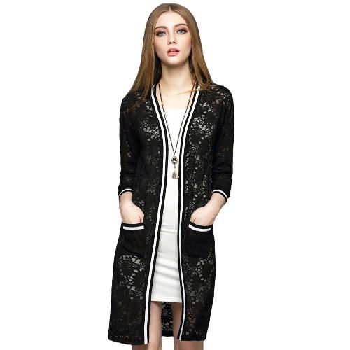 New Elegant Women Long Cardigan Lace Hollow Out Strip Splice 3/4 Sleeve Slim Outerwear Coat Knitwear Black/White G2083B-M