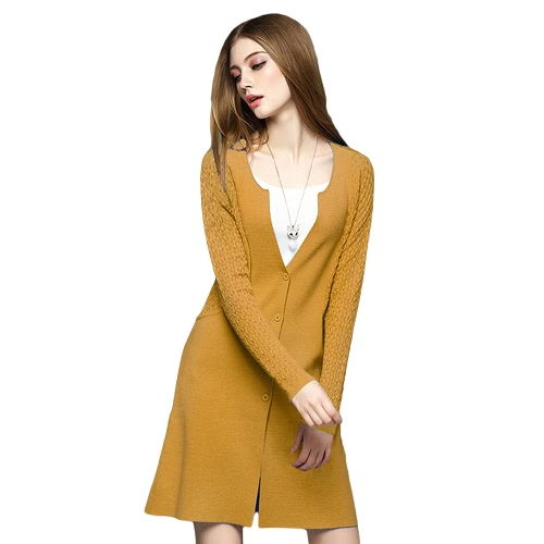 New Elegant Women Knitted Cardigan Splice Long Sleeve Button Front Slim Outerwear Sweater Coat Knitwear Blue/Yellow