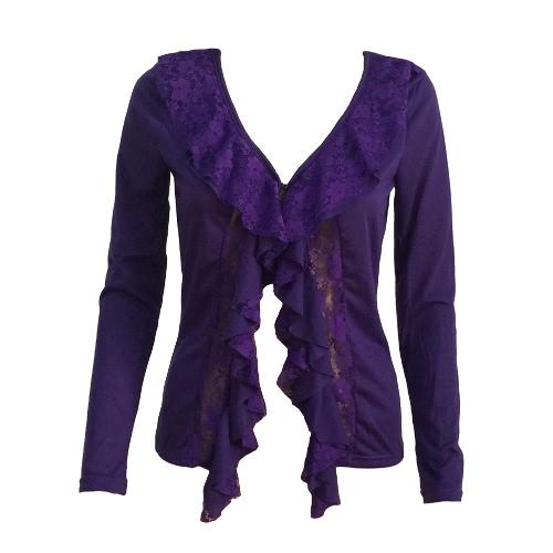 Fashion Hollow Lace Ruffle Deep V Neck Long Sleeve Womens Slim CoatBlazers &amp; Coats<br>Fashion Hollow Lace Ruffle Deep V Neck Long Sleeve Womens Slim Coat<br><br>Blade Length: 20.0cm