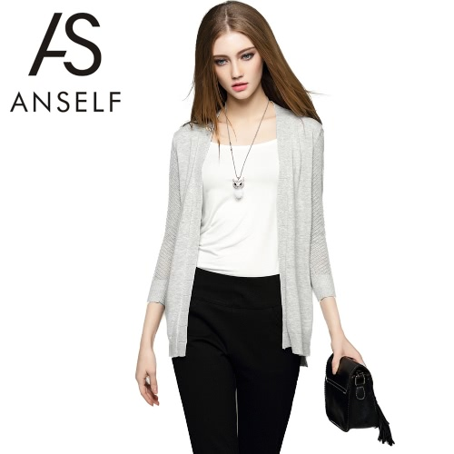 New Fashion Women Cardigan Knitted Open Front Three Quarter Sleeve Hollow Out Casual Knitwear Grey/White G2090GY-M