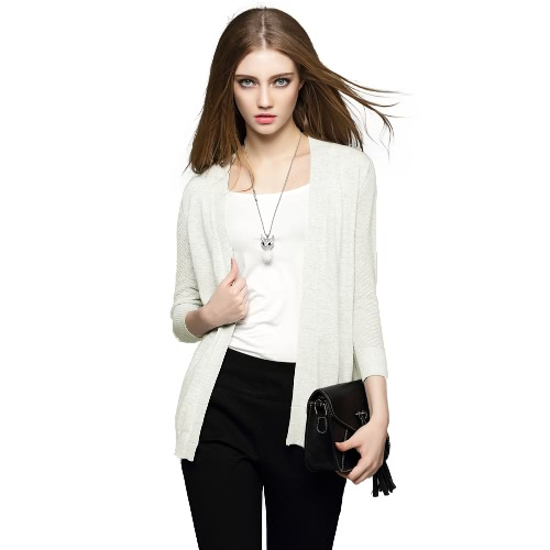 New Fashion Women Cardigan Knitted Open Front Three Quarter Sleeve Hollow Out Casual Knitwear Grey/White G2090W-M
