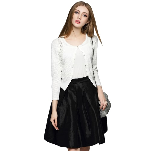 New Elegant Women Knitted Cardigan Crochet Lace Splice Long Sleeve Button Front Slim Outerwear Coat Knitwear White/Black/Yellow