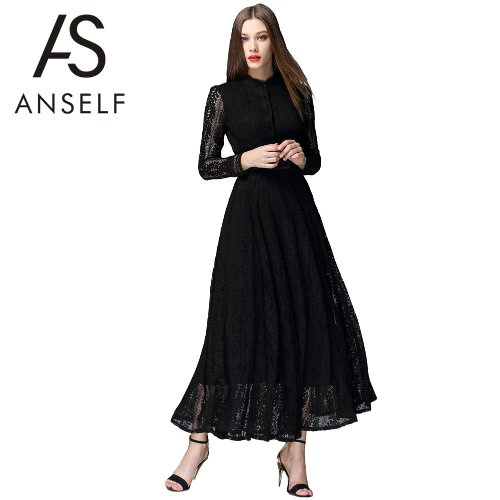 New Women Maxi Dress Floral Lace Hollow Out Long Sleeves Button Elegant Party Evening Banquet Dress Black