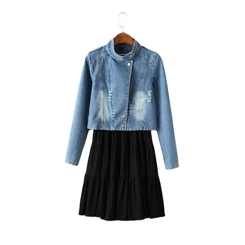 New Fashion Women Two-piece Set Suit Bleached Crop Denim Jacket Coat Pleated Solid Vest Dress Twinset Blue G2337BL-M