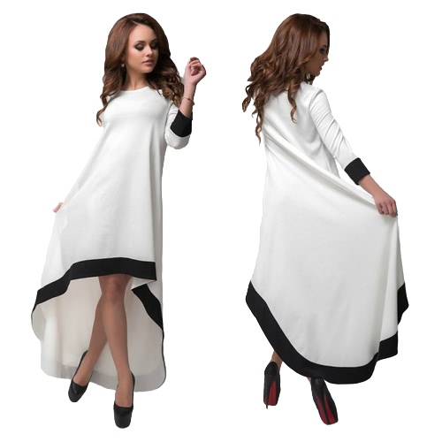 Fashion Women Long Dress Contrast Color High-Low Hem O-Neck 3/4 Sleeves Loose Elegant Party Evening Dress White