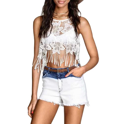 New Europe Women Crop Top Vest Crochet Lace Floral Embroidery Tassels Fringed Hollow Out Sheer Sexy Tank Top Bralette White