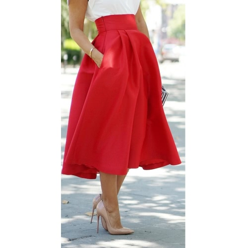 Fashion Women Skirt A-Line Pleated High Waist Side Zipper Pockets Midi Skirt Red G2421R-M