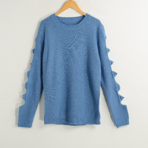 Winter Pullover Hollow Knitted Sweater Long Sleeve Women's Jumper Top