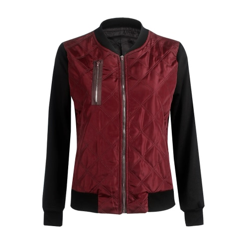 New Fashion Women Bomber Jacket Coat Solid Color Contrast Long Sleeve Cotton Short Jacket Outerwear Black/Burgundy/Green