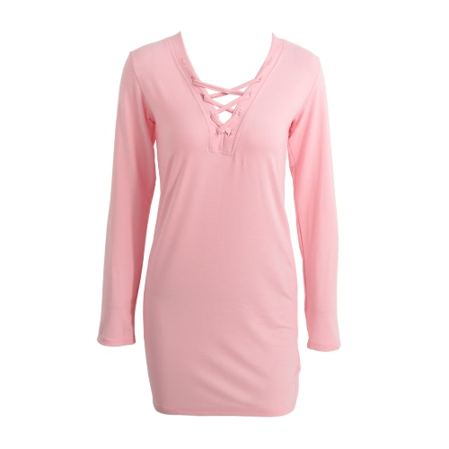 Sexy Women Hollow Out Dress Strap Plunge V Neck Long Sleeves Solid Straight Shift Mini Dress Pink