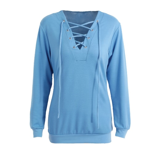 Buy Fashion Women T-shirt Solid Color Lace UP Bandage V Neck Hollow Long Sleeve Casual Tops Blue