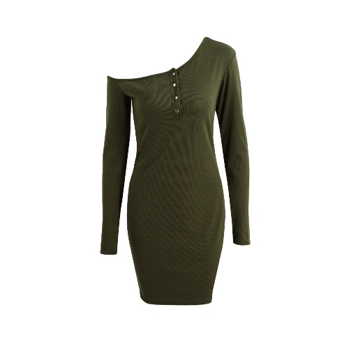 New Sexy Women Bodycon Knitted Dress Off Shoulder Button Long Sleeves Stretchy Sheath Mini DressDresses<br>New Sexy Women Bodycon Knitted Dress Off Shoulder Button Long Sleeves Stretchy Sheath Mini Dress<br><br>Blade Length: 20.0cm