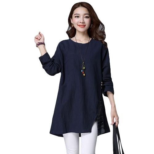 New Women Cotton Linen Long Blouse Splice Split O-Neck Loose Casual Vintage Pullover Top Red/Khaki/Dark BlueShirts &amp; Blouses<br>New Women Cotton Linen Long Blouse Splice Split O-Neck Loose Casual Vintage Pullover Top Red/Khaki/Dark Blue<br><br>Blade Length: 30.0cm