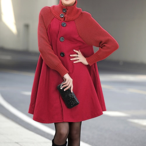Fashion Women Plus Size Woolen Cape Coat Button Front Long Sleeves Loose Jacket Black/Grey/Red