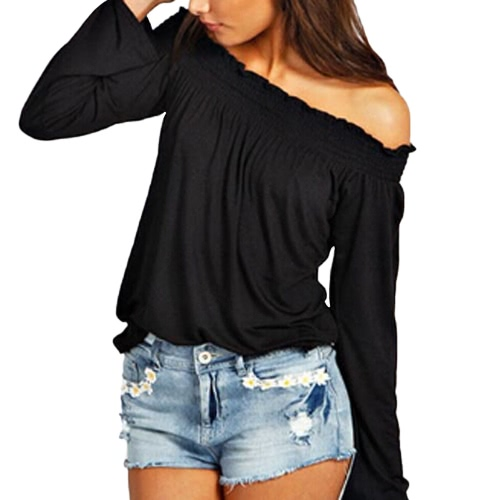 New Fashion Women Blouse Elastic Off Shoulder Long Sleeve Solid Color Casual T-Shirt Tops TeeShirts &amp; Blouses<br>New Fashion Women Blouse Elastic Off Shoulder Long Sleeve Solid Color Casual T-Shirt Tops Tee<br><br>Blade Length: 20.0cm