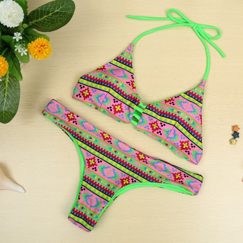 New Sexy Women Bikini Set Print Halter Wireless Padded Two Piece Bathing Suit Beach Swimwear Swimsuits