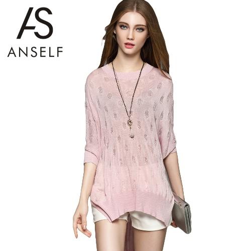 New Fashion Women Blouse O-Neck Batwing Sleeve Side Split Asymmetrical Hem Loose Knitwear Pullover G2536P