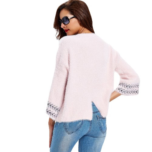 New Women Knitted Sweater Splice Print Round Neck 3/4 Sleeve Vintage Warm Pullover Tops Knitwear Pink/Grey/Camel G3313P