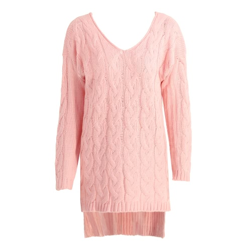 New Women Midi Twist Knitted Sweater Solid V Neck Long Sleeve Split High-Low Hem Loose Warm Jumper Pullover Knitwear Pink/Grey