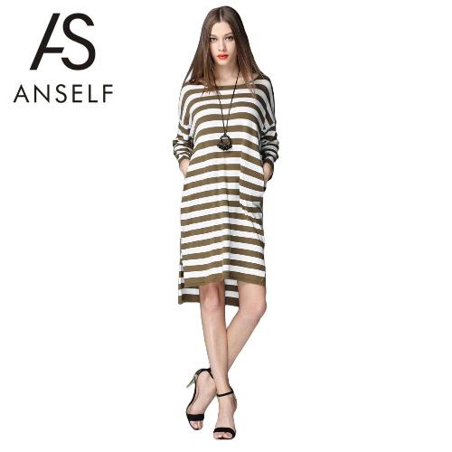 Buy Fashion Women Loose Knitted Dress Striped Split High-Low Hem Long Sleeve Casual Army Green
