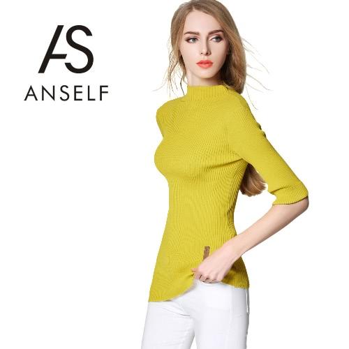 Buy Fashion Women Knitted Top Turtleneck Half Sleeves Asymmetric Hem Pullover Sweater Green/Pink