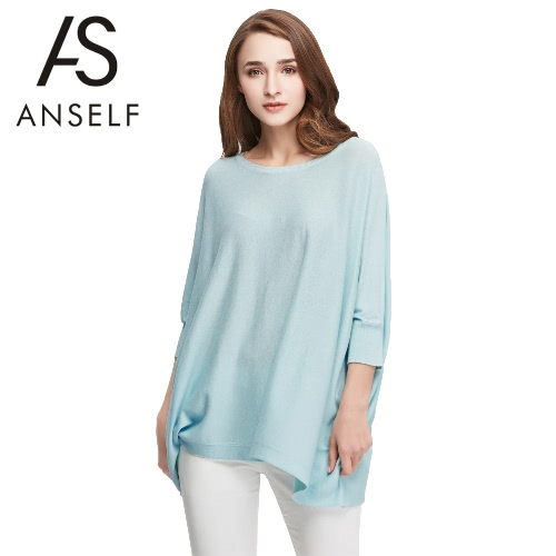 Buy Fashion Women Loose Knitwear Slash Neck Batwing Sleeve Soft Casual Blouse Pullover T-Shirt Tops Green/Pink/Grey