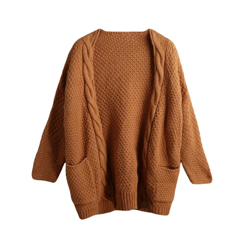 New Fashion Women Knit Coat Thick Twist Knitwear Sweater Long Sleeve Pocket Loose Causal Knitted Cardigan G3010BR