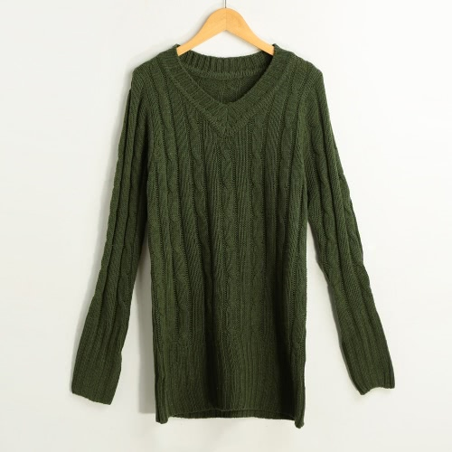 New Fashion Women Cable Knitted Sweater Solid Ribbed V Neck Long Sleeve Casual Longline Jumper Beige/Dark Green/Grey