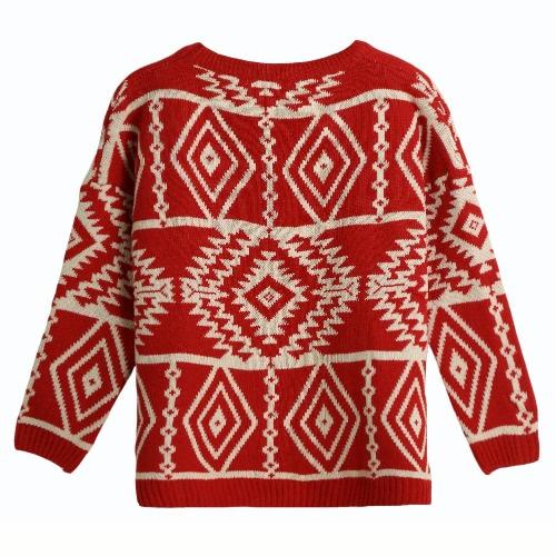 New Women Knitted Sweater Geometric Print High-Low Hem Long Sleeve Vintage Warm Pullover Tops Knitwear G3270R