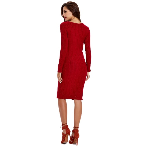 Women Knitted Bodycon Dress Cable Knit Split Two-Way Ribbed Trim O Neck Long Sleeves Jumper Dress