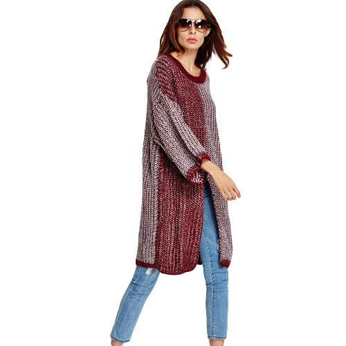 New Women Knitted Sweater Round Neck 3/4 Sleeve Dropped Shoulder Knitwear Top Pullover Red/Green/Grey
