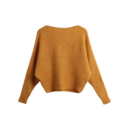 Fashion Women Long Sleeve Solid Color Sweater Knitted Pullover Batwing Sleeve Casual Slash Neck Knitwear TopKnitwear<br>Fashion Women Long Sleeve Solid Color Sweater Knitted Pullover Batwing Sleeve Casual Slash Neck Knitwear Top<br><br>Blade Length: 22.0cm