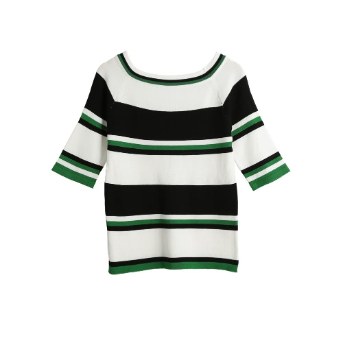 Women Striped Sweater Raglan Half Sleeve O Neck Cuff Knit Pullover Casual Top