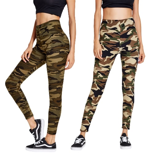 Fashion Women Sports Pants Camo Contrast Elastic Waist Running Fitness Yoga Trousers Slim Leggings Army Green/Brown