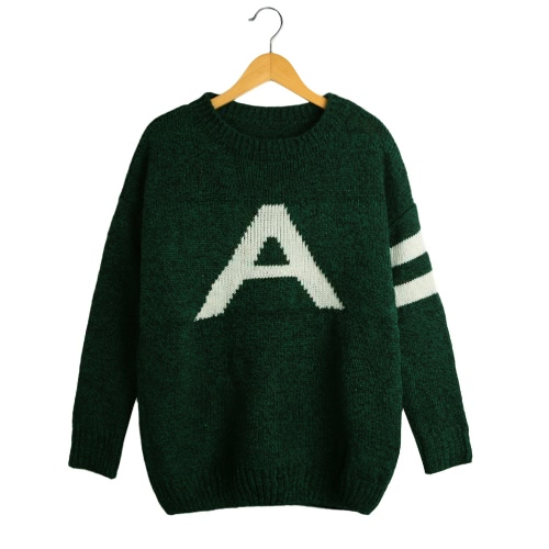 Fashion Women Loose Sweater Letter Print Long Sleeve Knitted Pullover Winter Casual Plus Size Knitwear Tops Black/Dark Green