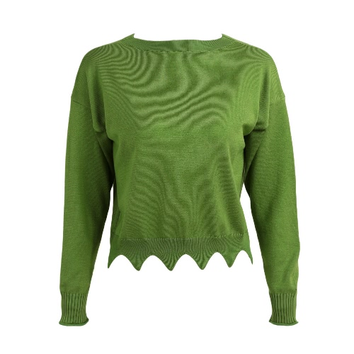 New Fashion Women Scalloped Crop Sweater O-Neck Long Sleeve Solid Loose Knitwear Knitted Pullover Tops Red/Green
