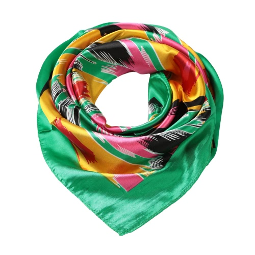 New Fashion Women Scarf Satin Polyester Graffiti Pattern Print Color Block Square Design Big Size Kerchief