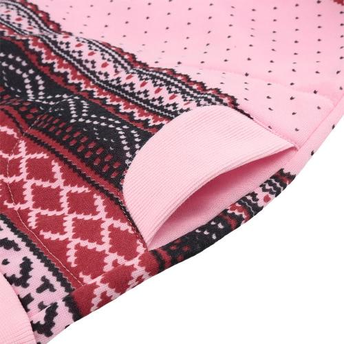 Women Hoodie Snowflake Print Long Sleeve Pullover Christmas Sweatshirt Sportwear White/Pink/Green G0795P-S